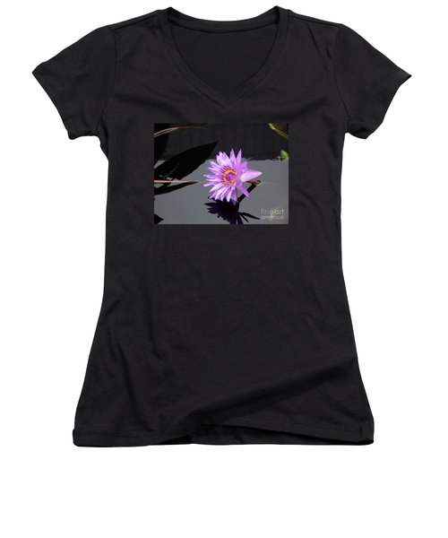 Lavender Lily Women's V-Neck T-Shirt (Junior Cut) by Eric  Schiabor
