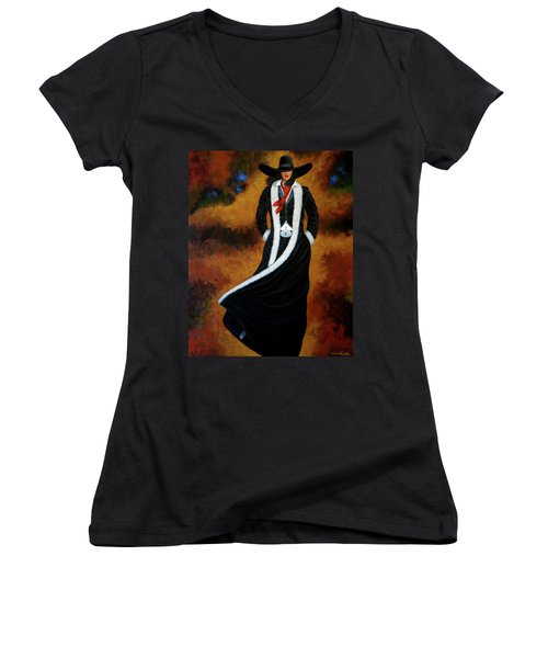 Leather And Fur Women's V-Neck