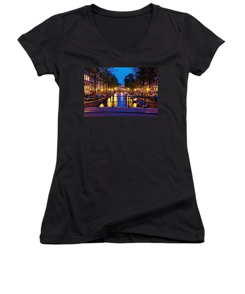 Leidsegracht Canal At Night / Amsterdam Women's V-Neck (Athletic Fit)