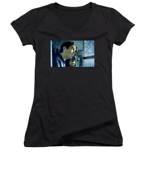 Women's V-Neck T-Shirt (Junior Cut) featuring the painting Leo Johnson Are You Telling Me There's No Santa Claus by Luis Ludzska