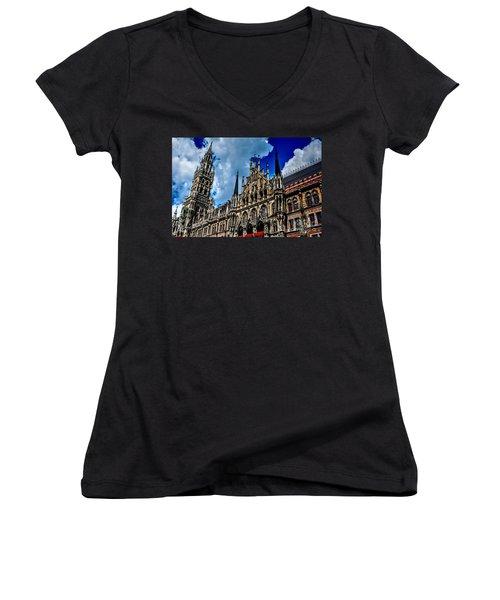 Women's V-Neck T-Shirt (Junior Cut) featuring the photograph Marienplatz In Munich by Joe  Ng