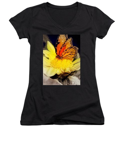 Women's V-Neck T-Shirt (Junior Cut) featuring the pastel Monarch Resting Sold Pastel by Antonia Citrino