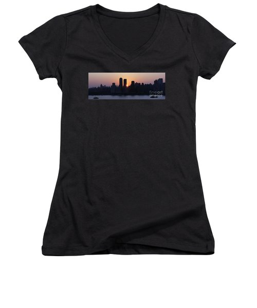 Women's V-Neck T-Shirt (Junior Cut) featuring the photograph Morning On The Hudson by Lilliana Mendez