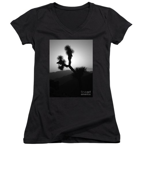 New Photographic Art Print For Sale Joshua Tree At Sunset Black And White Women's V-Neck