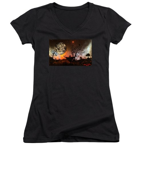 Night Of The Scarecrow  Women's V-Neck T-Shirt (Junior Cut) by Michael Rucker