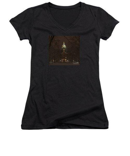 Notre Dame Golden Dome Snow Women's V-Neck T-Shirt (Junior Cut) by John Stephens