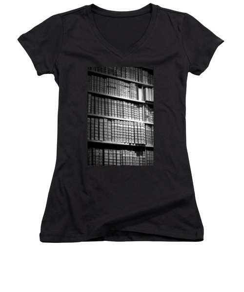 Women's V-Neck T-Shirt (Junior Cut) featuring the photograph Old Books by Chevy Fleet