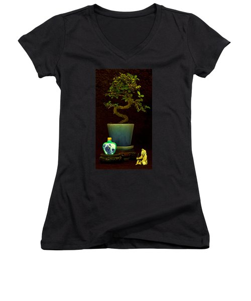 Women's V-Neck T-Shirt (Junior Cut) featuring the photograph Old Man And The Tree by Elf Evans