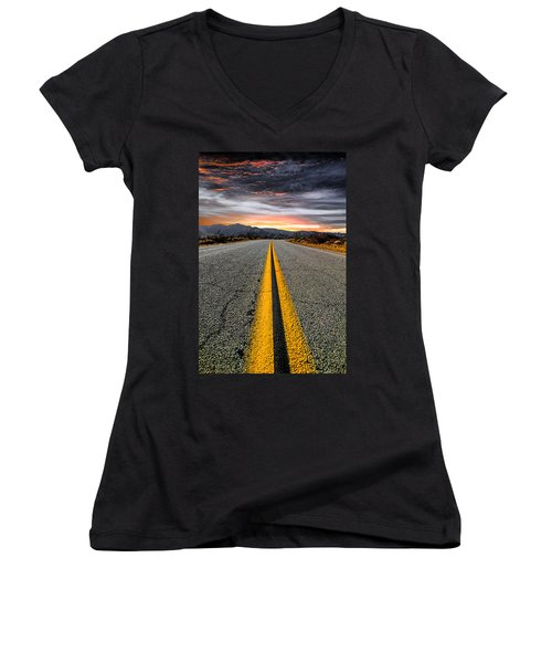 Women's V-Neck T-Shirt (Junior Cut) featuring the photograph On Our Way  by Ryan Weddle