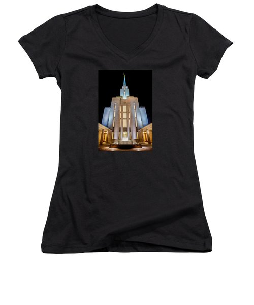 Oquirrh Mountain Temple 1 Women's V-Neck (Athletic Fit)
