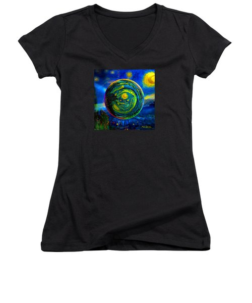 Women's V-Neck T-Shirt (Junior Cut) featuring the digital art Orbiting A Starry Night  by Robin Moline