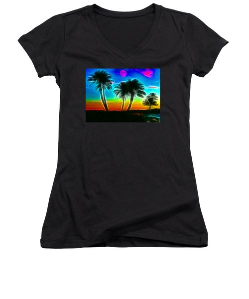 Women's V-Neck T-Shirt (Junior Cut) featuring the photograph Paradise by Tammy Espino