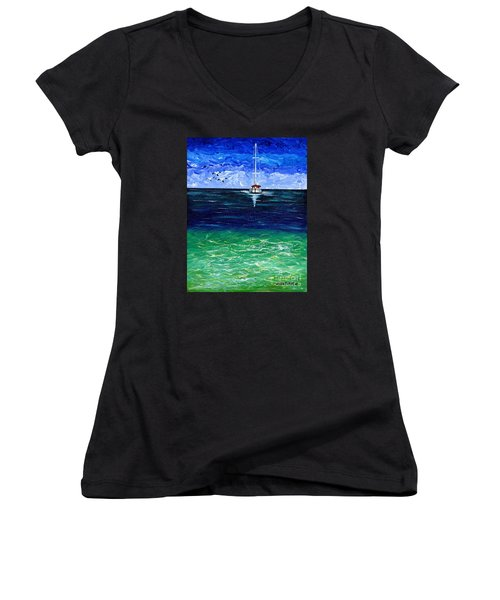 Peaceful Women's V-Neck T-Shirt (Junior Cut) by Laura Forde