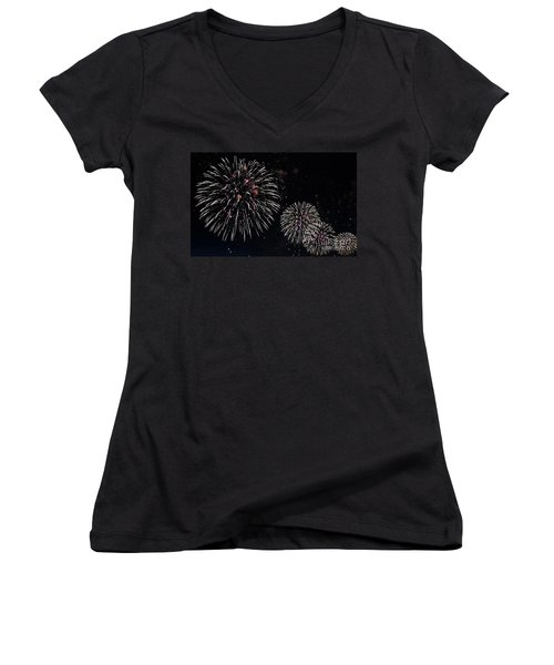Women's V-Neck T-Shirt (Junior Cut) featuring the photograph Pink Fireworks by Lilliana Mendez