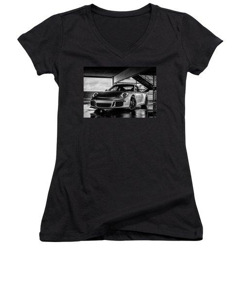 Porsche 911 Gt3 Women's V-Neck T-Shirt (Junior Cut) by Douglas Pittman