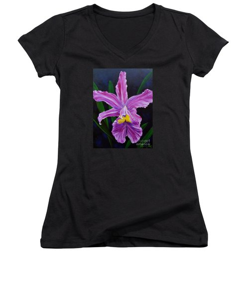Women's V-Neck T-Shirt (Junior Cut) featuring the painting Purple Orchid by Jenny Lee