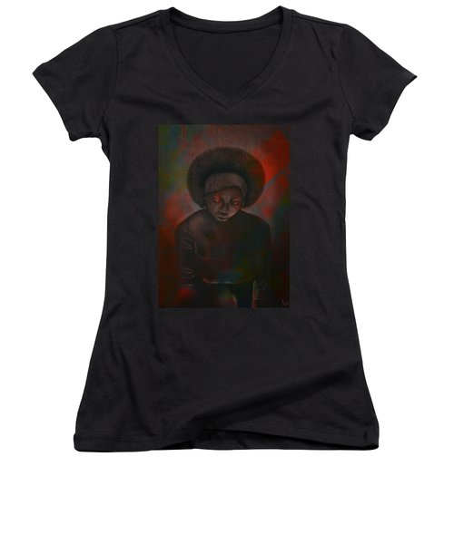 Women's V-Neck T-Shirt (Junior Cut) featuring the painting Reciprocity by AC Williams
