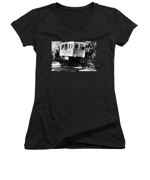 Roman Candy Women's V-Neck T-Shirt (Junior Cut) by Scott Pellegrin