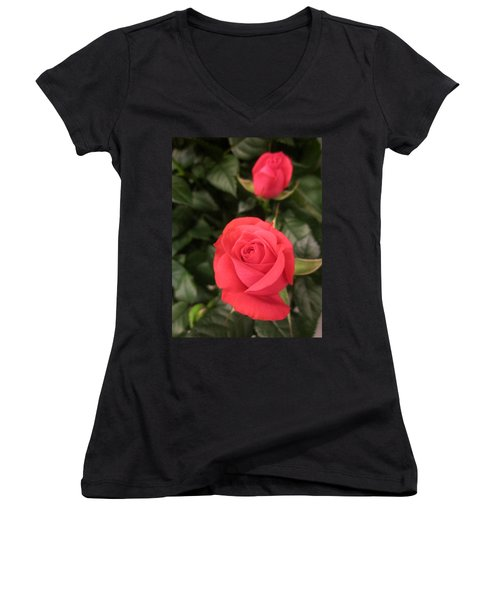 Roses In Red Women's V-Neck (Athletic Fit)