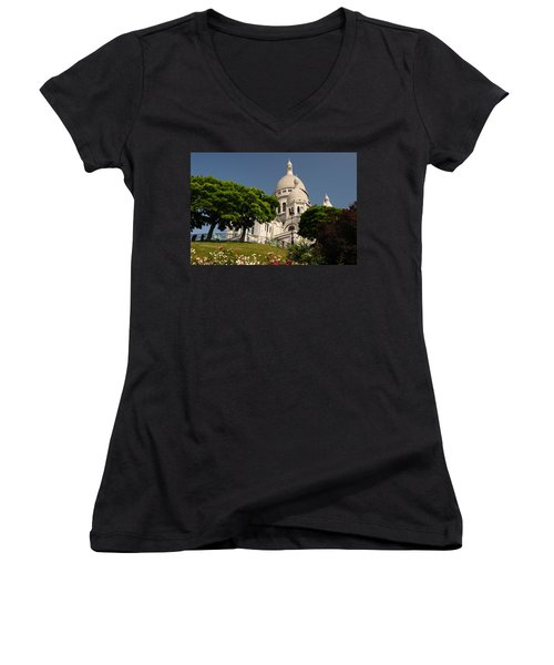 Sacre Coeur Women's V-Neck T-Shirt (Junior Cut) by Jeremy Voisey