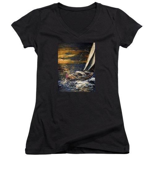 Sailing Women's V-Neck T-Shirt (Junior Cut) by Arturas Slapsys
