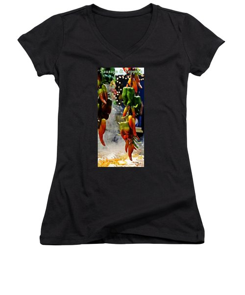 Women's V-Neck T-Shirt (Junior Cut) featuring the photograph Sausage And Peppers by Lilliana Mendez