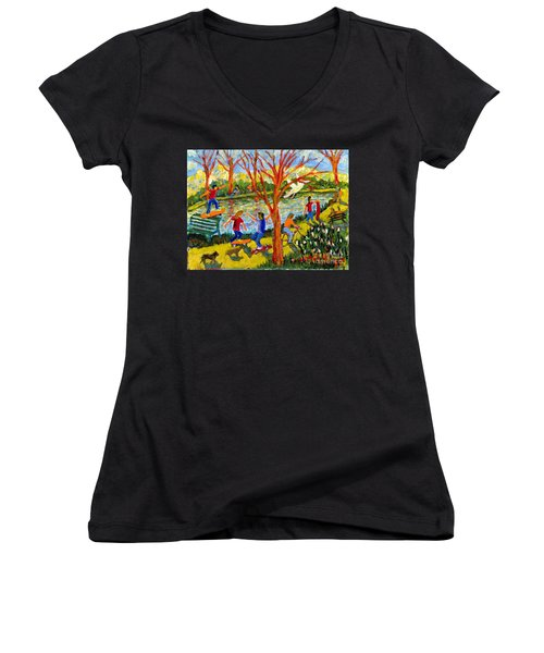 Skateboarders Women's V-Neck (Athletic Fit)