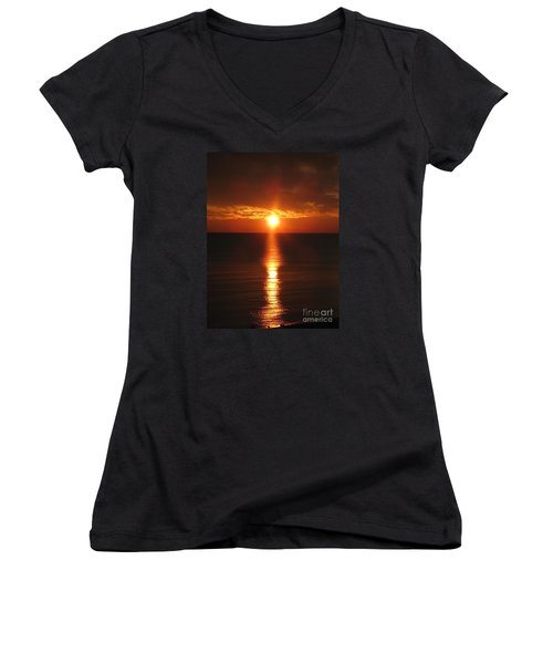 Women's V-Neck T-Shirt (Junior Cut) featuring the photograph Sky On Fire by Christiane Schulze Art And Photography