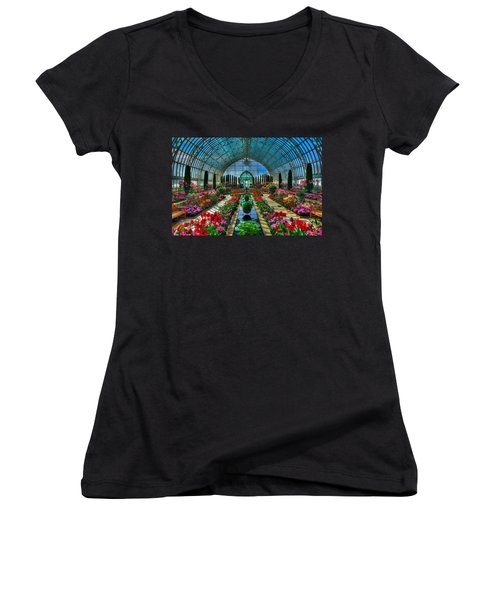 Sunken Garden Como Conservatory Women's V-Neck T-Shirt (Junior Cut) by Amanda Stadther