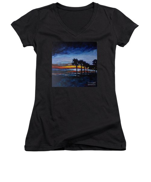 Sunset In St. Andrews Women's V-Neck T-Shirt (Junior Cut) by Jan Bennicoff