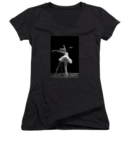 Swan Lake  White Adagio  Russia 3 Women's V-Neck T-Shirt (Junior Cut) by Clare Bambers