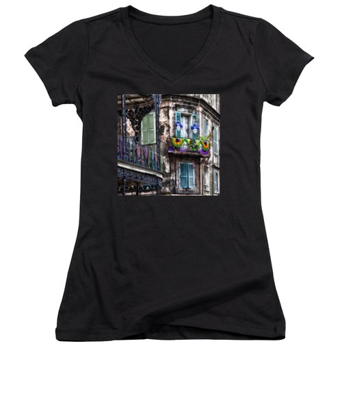 The French Quarter During Mardi Gras Women's V-Neck T-Shirt (Junior Cut) by Mountain Dreams