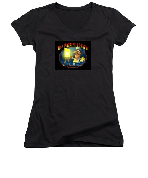 Women's V-Neck T-Shirt (Junior Cut) featuring the digital art The Painter Of Light by Scott Ross