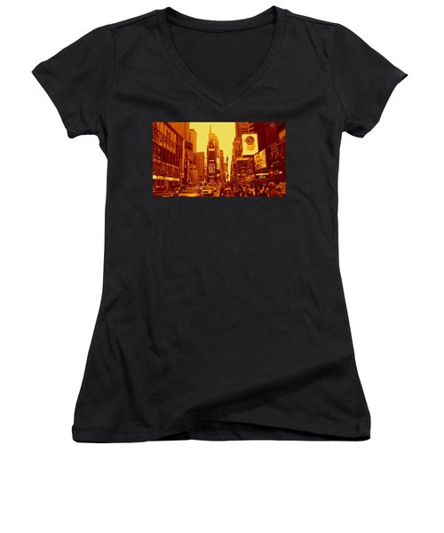 42nd Street And Times Square Manhattan Women's V-Neck