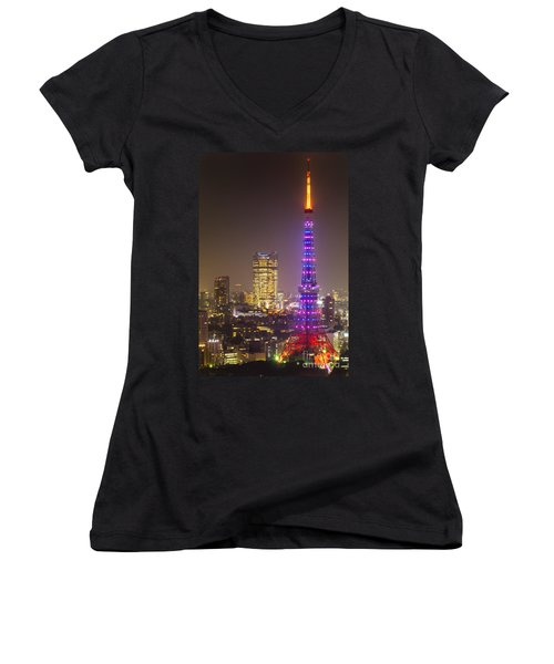 Tokyo Tower - Tokyo - Japan Women's V-Neck T-Shirt (Junior Cut) by Luciano Mortula