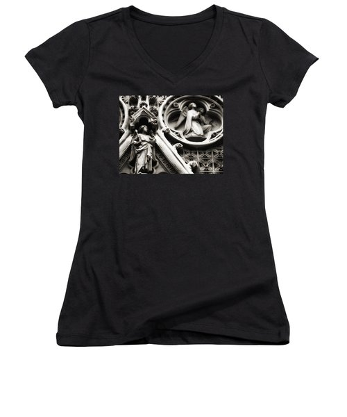 Women's V-Neck T-Shirt (Junior Cut) featuring the photograph Truro Cathedral by Rachel Mirror