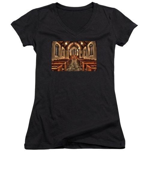 Westminster Presbyterian Church Women's V-Neck T-Shirt (Junior Cut) by Amanda Stadther
