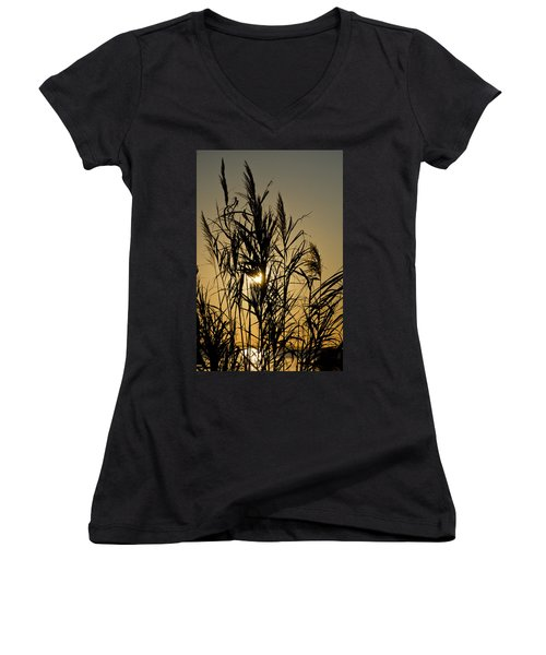 Women's V-Neck T-Shirt (Junior Cut) featuring the photograph Whalehead Sunset Obx #3 by Greg Reed