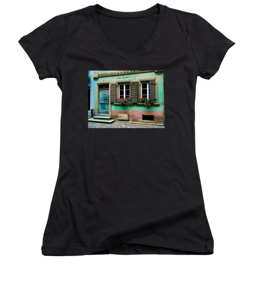 Women's V-Neck T-Shirt (Junior Cut) featuring the photograph Windows And Doors 6 by Maria Huntley