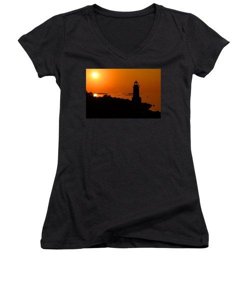 Winter Island Lighthouse Sunrise Women's V-Neck (Athletic Fit)