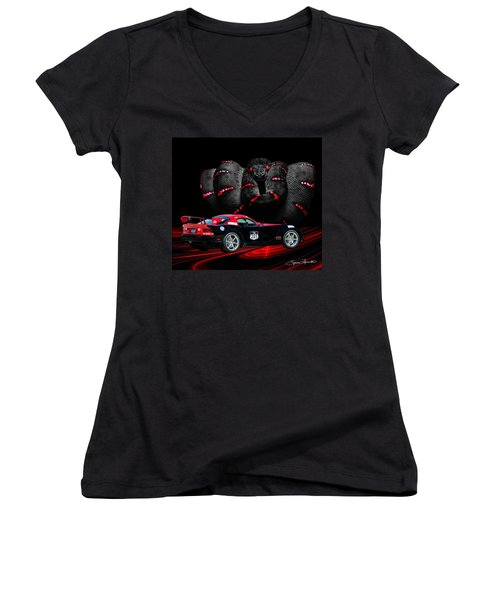 2010 Dodge Viper Women's V-Neck (Athletic Fit)
