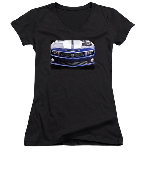 2012 Camaro Blue And White Ss Camaro Women's V-Neck (Athletic Fit)