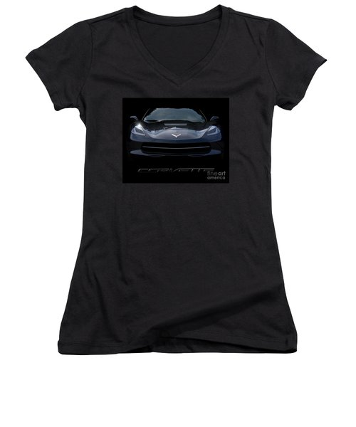 2014 Corvette With Emblem Women's V-Neck