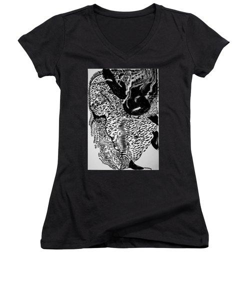 Women's V-Neck T-Shirt (Junior Cut) featuring the drawing Dinka Dance - South Sudan by Gloria Ssali