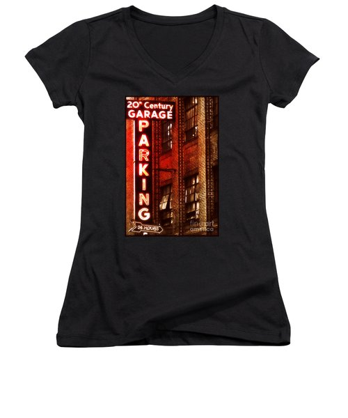 Women's V-Neck T-Shirt (Junior Cut) featuring the photograph 24-hour Garage by Miriam Danar