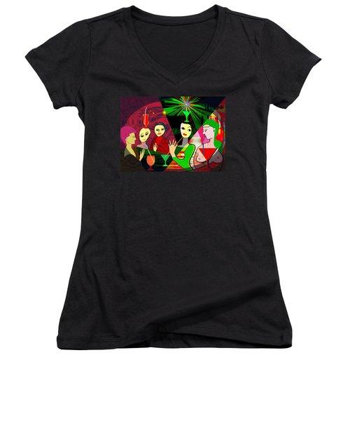 280 -  Wild Celebration   Women's V-Neck T-Shirt