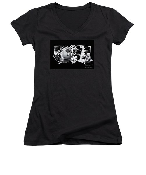 Women's V-Neck T-Shirt (Junior Cut) featuring the mixed media 2d Elements In Black And White by Xueling Zou