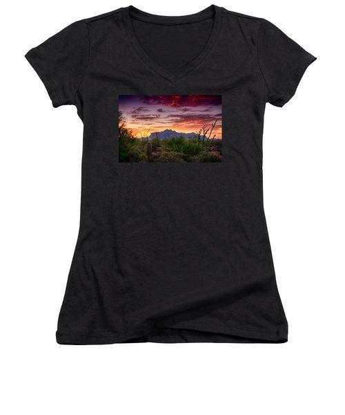 A Superstition Sunrise  Women's V-Neck T-Shirt (Junior Cut) by Saija  Lehtonen