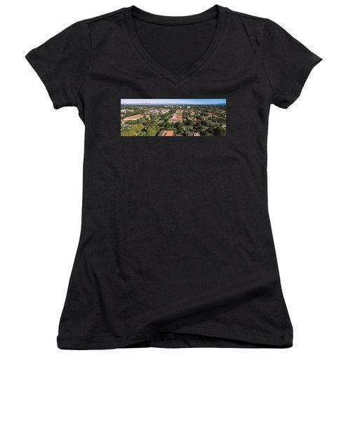 Aerial View Of Stanford University Women's V-Neck (Athletic Fit)