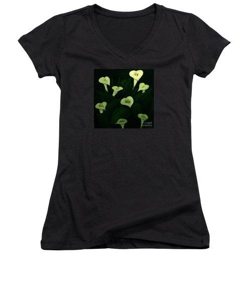 Calla Lilies Women's V-Neck T-Shirt (Junior Cut) by John Stuart Webbstock